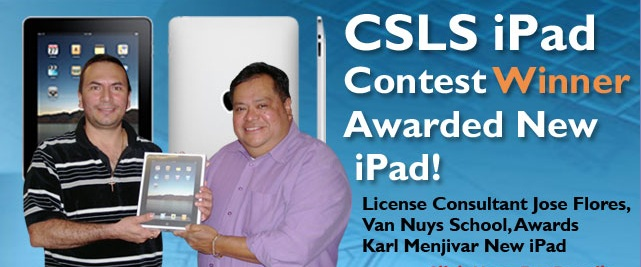 CSLS iPad Contest Winner Karl Menjivar Awarded New iPad